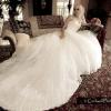 Salon photo at Ainsworth House wedding venue. Long train, strapless wedding gown.